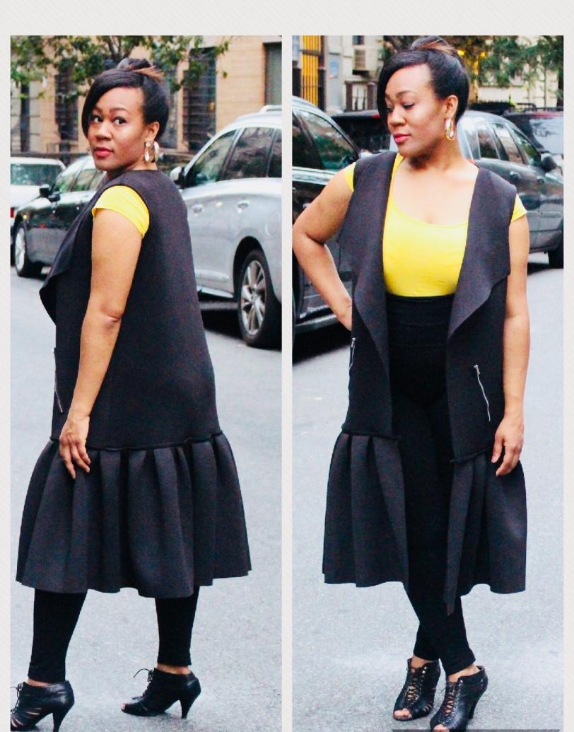 Black Neoprene Dropwaist Coatdress by J Tracey